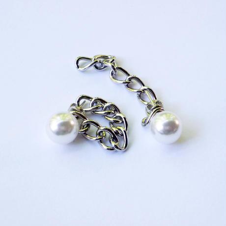 white pearl chain pierced earring