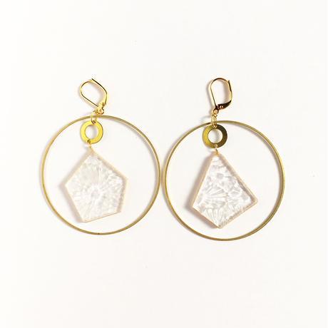 透明ガラスと真鍮のフープピアス/イヤリング Glass and Brass earrings