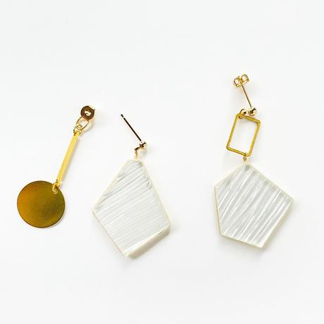 ガラスと真鍮のピアス(金具変更可能タイプ)Glass and Brass earrings