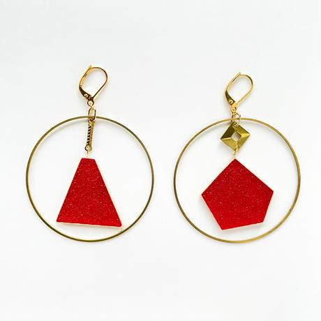 ゆらゆらフープピアス(金具変更可能タイプ) Glass and Brass hoop earrings