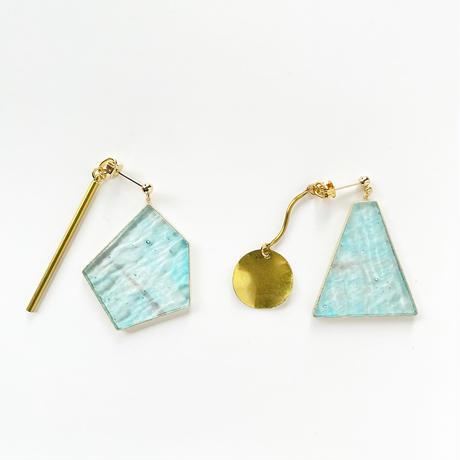 ガラスと真鍮のピアス (金具変更可能タイプ)Glass and Brass earrings