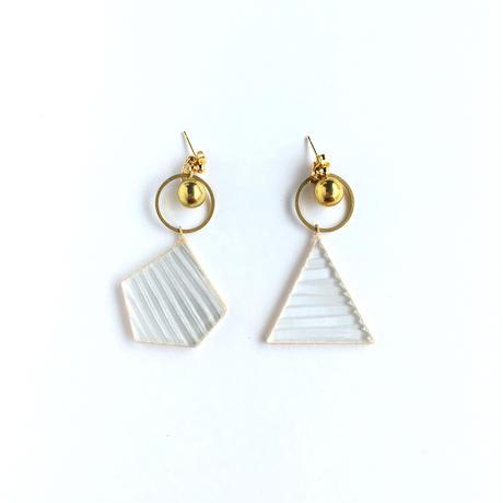 透明ガラスと真鍮のピアス/イヤリング Glass and Brass earrings