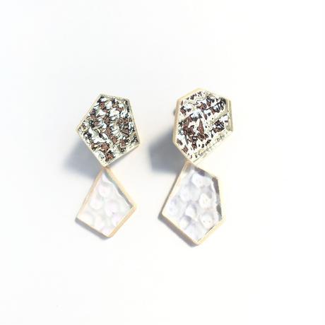 シルバー鏡とガラスのダブルイヤリング Silver mirror and glass Clip-on earrings
