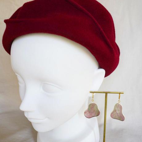 くにゃっとしたガラスのピアス(金具変更可能タイプ)Odd shaped Glass earrings