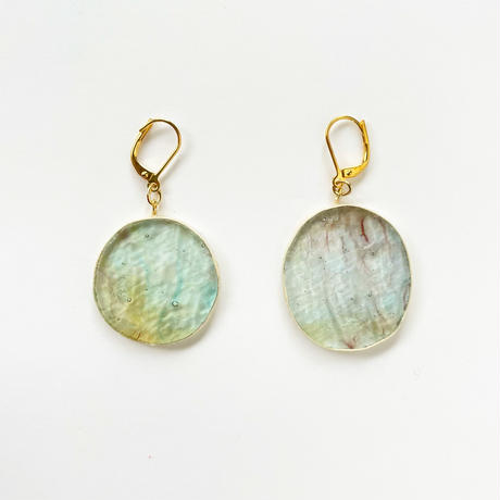 丸ガラスのピアス(金具変更可能タイプ)Odd shaped Glass earrings