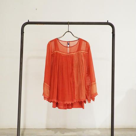 ETTA Selection コットンシルクハンド刺繍/トップス/オレンジレッド