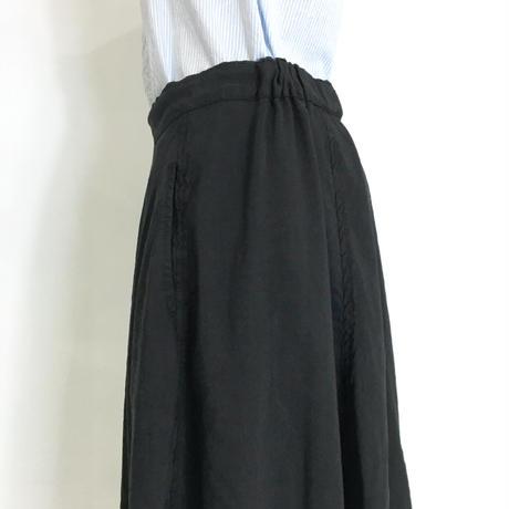 Lady'sリネンシルク・コクーンスカート(ブラック)/HannohWessel 36
