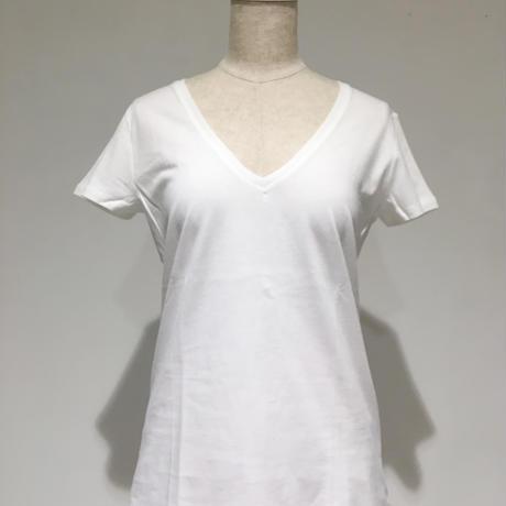 デラックスコットン/VネックTシャツ/ホワイト