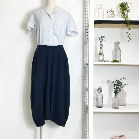 Lady'sリネンシルク・コクーンスカート(ネイビー)/HannohWessel 36
