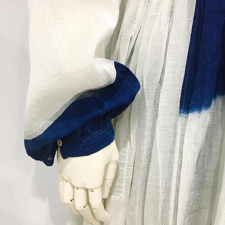 injiri-別注XLサイズ・本藍染絞りドレス/ インディゴ/E2251