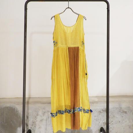 ETTA Selection コットンシルクハンド刺繍/ノースリーブドレス/マスタードイエロー