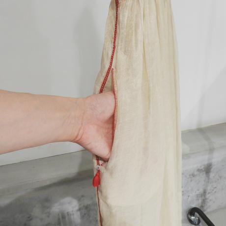 ETTA Selection コットンシルクハンド刺繍/ノースリーブドレス/ゴールド×クリーム