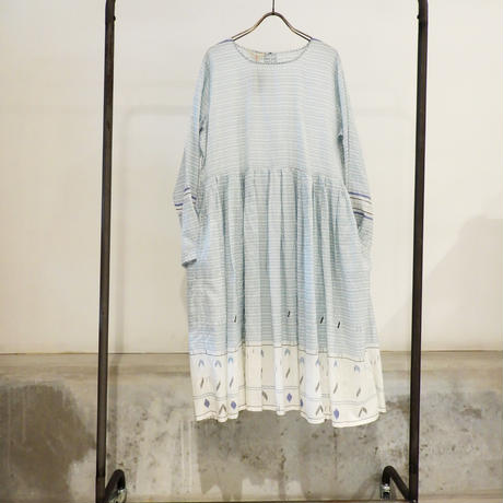 injiriブルーボーダーシルクドレス/サイズ38(Mサイズ)