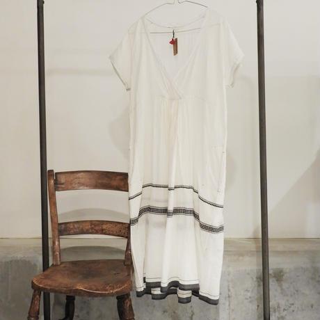 injiriコットンシルク半袖ドレス/サイズ40(Lサイズ)