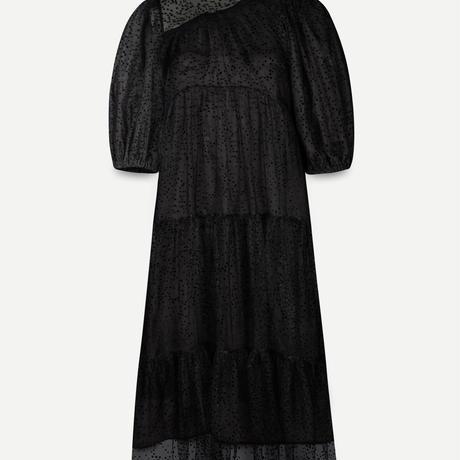 TEIJA/ドレス/シルク・ブラックドット