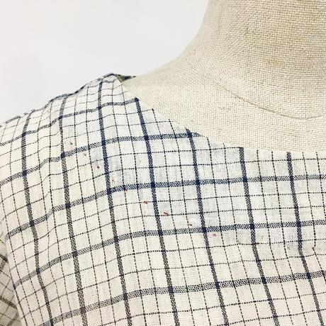 injiri-オーガニック半袖チェックドレス/ オーガニック綿/E2259