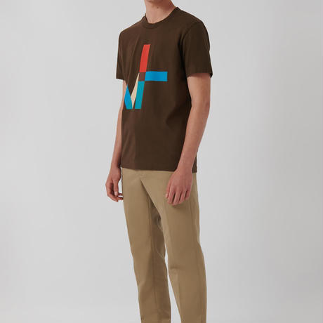 Loreak/Organic Cotton 100%グラフィックロゴT-シャツ/ブラウンM