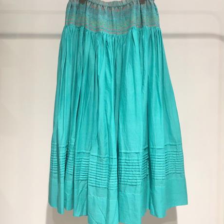 injiriコットンシルクエメラルド色スカート/Mサイズ