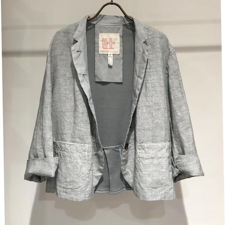 Lady'sリネン&カットソージャケット(グレー)/HannohWessel/40