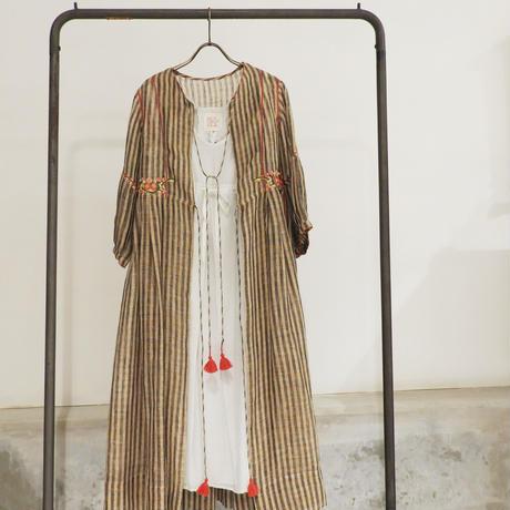 ETTA Selection リネン100%ハンド刺繍/ジャケット/ベージュ&ブラック