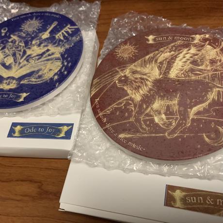 【SOLD OUT!】【2nd CD+コースター2種セット】【ステッカープレゼント】Sun & Moon / 白雲石吸水コースター 2種組 / Toru sounds ステッカー