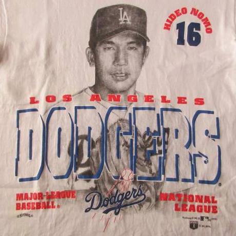 90s USA製 野茂英雄 ロサンゼルス ドジャース ナツメグ ミルズ Tシャツ M トルネード Los Angeles Dodgers NUTMEG MILLS【deg】