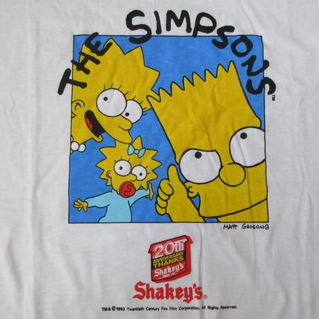 90's 非売品 ザ・シンプソンズ シェーキーズ 20周年記念 Tシャツ L~XL位 白The Simpsons Shakey's バート・シンプソン