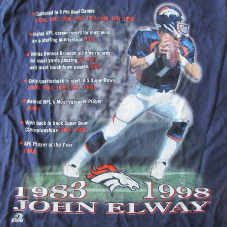 90's USA製John Elway TシャツMジョン エルウェイDenver Broncos 【deg】