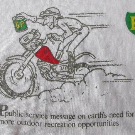 90's USA製 BP バイク Tシャツ L 白 OIL ビーピー オイル Hanes ヘインズ 【deg】