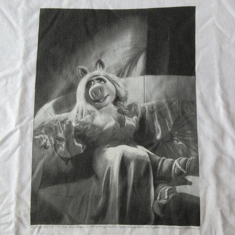 90's USA製 Len Prince ミス ピギー フォト Tシャツ M Miss Piggyマペット ジム ヘンソン カーミット セサミストリート 芸術ART現代美術【deg】