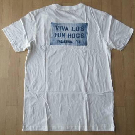 日本未発売 USA製 パタゴニア Mens Viva Los Fun Hogs Lightweight Cotton T-Shirt Tシャツ M 白 ホワイト PATAGONIA【deg】