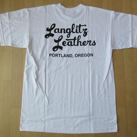 USA製 LANGLITZ LEATHERS バック 左胸 ロゴ Tシャツ L 白 ホワイト ラングリッツレザー 半袖 カットソー ハーレーダビッドソン バイク 【deg】