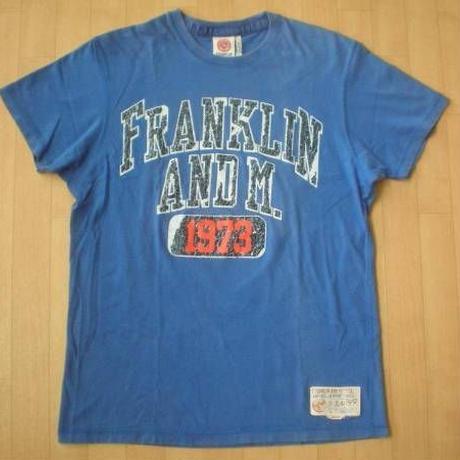FRANKLIN&MARSHALL ユーズド加工Tシャツ フランクリンマーシャル カレッジロゴ アメカジ サイズL【deg】