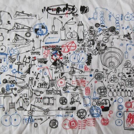 00's ジャン=ミシェル・バスキア FOTOFOLIO Red&Black on White Tシャツ XL Jean-Michel Basquiat ビッグシルエット 芸術【deg】