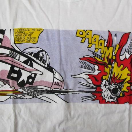 80's 90's 日本製 古着 オールド Roy Lichtenstein風 BAAAM! 長袖Tシャツ XS〜S位 白 ロイ リキテンスタインWhaam!風 芸術POP ART【deg】