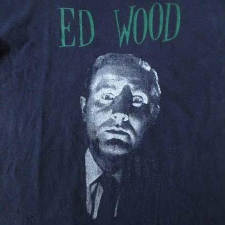 90's Ed Wood オールド フェイス フォトTシャツ M ネイビー エド ウッド 史上最低の映画監督 ティム バートンJohnny Depp ジョニー デップ【deg】