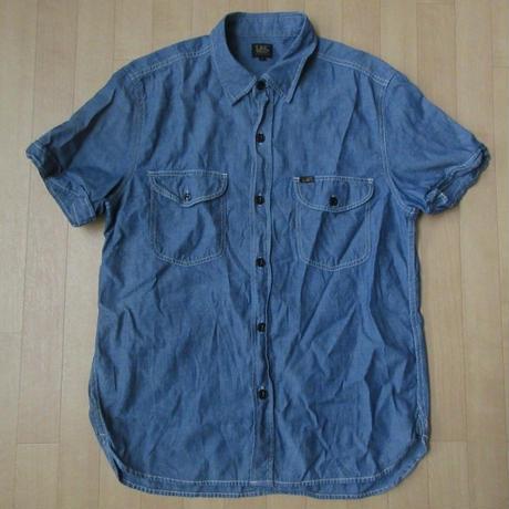 Lee 猫目ボタン マチ付き 半袖 シャンブレーシャツ L ブルー リー Chambray Shirt ワーク シャツ WORK アメカジ