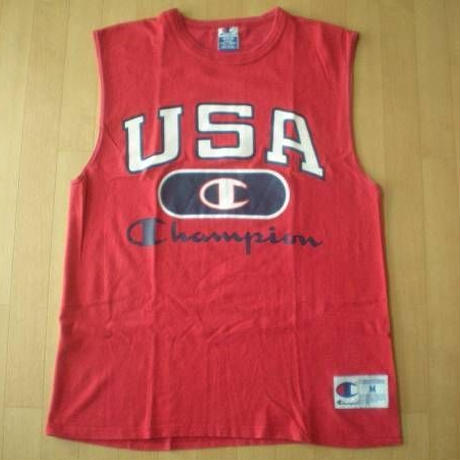90's CHAMPION USA 目玉 ノースリーブTシャツM星条旗 チャンピオン 赤 レッド【deg】
