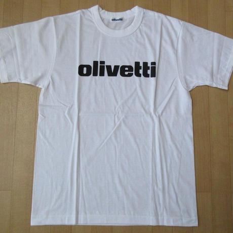 日本製 Olivetti ロゴ Tシャツ M 白 ホワイト オリベッティ 半袖 カットソー タイプライター イタリア Camillo カミッロ ART芸術 現代美術【deg】