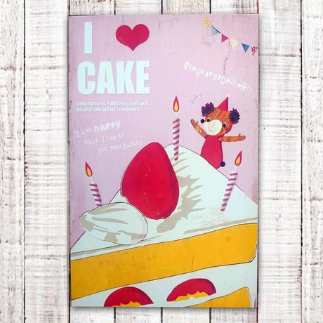 ポストカード I LOVE  CAKE(ケーキ)
