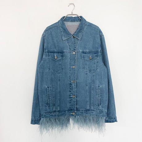 【LONDA】裾フリンジビッグサイズ デニムジャケット(E-358)
