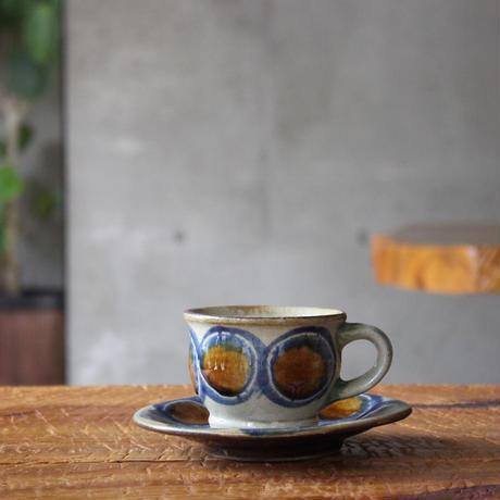 コーヒーカップソーサー付 丸紋 コバルト 飴釉
