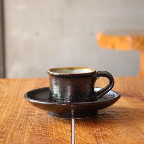 コーヒーカップソーサー付 黒釉