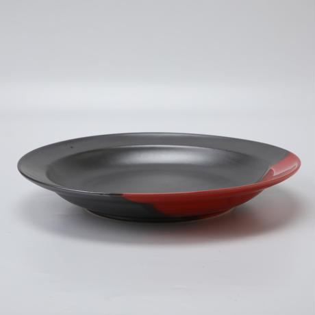 赤黒 丸皿