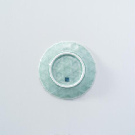 【鍋島虎仙窯】青磁籠目5寸皿