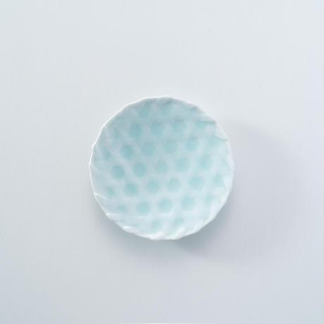 【鍋島虎仙窯】青白磁籠目5寸皿