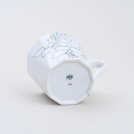 線描十角マグカップ 水仙文