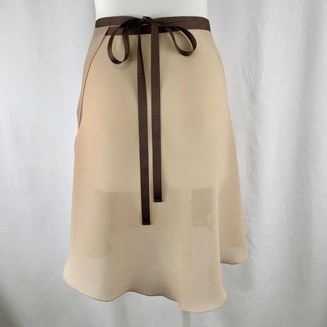 パウダーシフォン ロマンチックバックテイルラップスカート ミルクティー