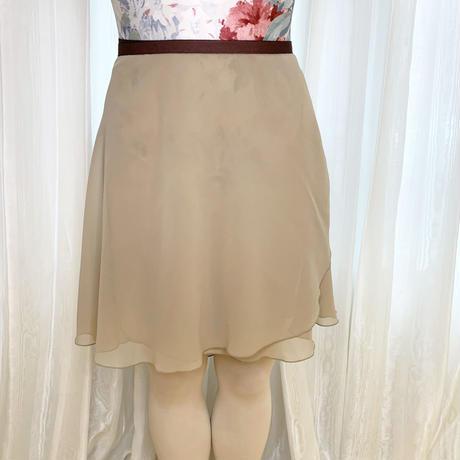 【ラップスカート 】シフォン バックテイル ロングスクロール43cm丈 ベージュ<20020>