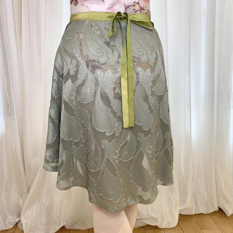 【ラップスカート 】カットジャガード リリーバックテイル38cm丈 モスグリーン<20072>
